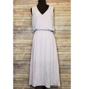 Wayf lavender gathered waist midi dress